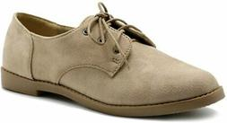 Ollio Women Classic Flat Shoe Lace Up Faux Suede Oxford, San
