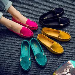 women moccasin suede slip on flat loafers