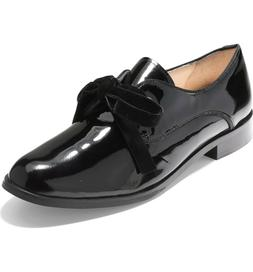 Women Cole Haan Jaylyn Oxford Shoes Black Patent Leather Bow