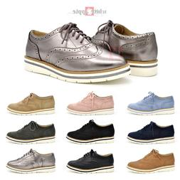 Women Oxford Wingtip Toe Lace Up Platform Perforated Casual
