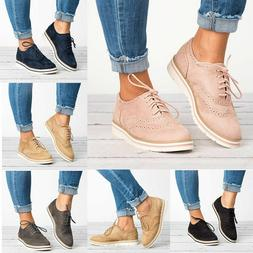Women Oxfords Shoes Casual Wing Tip Brogues Sneaker Stitched