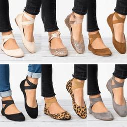Women's Ankle Strap Ballerina Flats Ballet Pumps Summer Comf