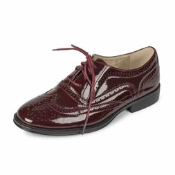 Wanted Women's Babe Burgundy Patent Leather Oxford Shoes Siz