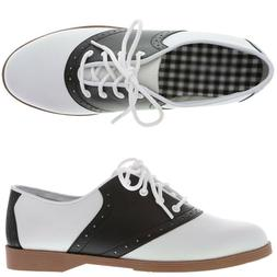 WOMEN'S BLACK AND WHITE 50'S STYLE SADDLE SHOES WIDE WIDTH S