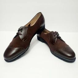 SALVATORE FERRAGAMO Women's Brown Leather and Suede Oxford L