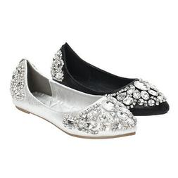 Women's Casual Flats Ballet Boat Rhinestone Shoes Pointed To