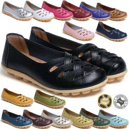 Women's Casual Genuine Leather Slip on Loafers Moccasin Flat