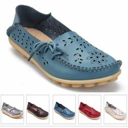 Women's Casual Hollow Oxford Leather Shoes Slip On Moccasin
