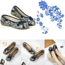 Women's Casual Slip on Loafers Embroidered Flower Flats Boat