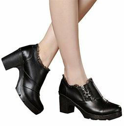 DADAWEN Women's Casual Zipper Lace Platform Mid-Heel Square