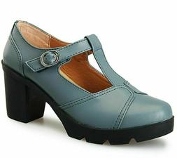 DADAWEN Women's Classic T-Strap Platform Mid-Heel Oxfords Dr