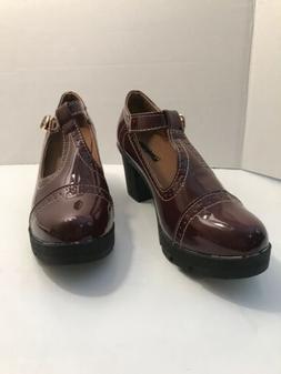 DADAWEN Women's Classic T-Strap Platform Mid-Heel Square Toe