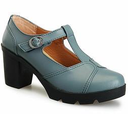 DADAWEN Women's Classic T-Strap Platform Mid-Heel  Oxfords D