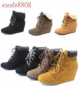 Women's Cuff Round Toe Oxford Low Wedge Lace Up Booties Shoe