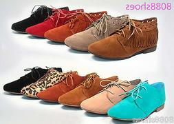 Women's Cute Stylish Round Toe Lace Up oxford Fringe flats S