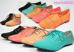Women's Fashion Round Toe Rocker Lace Up Studded Spike Oxfor