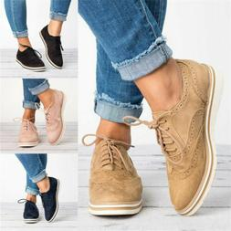 Women's Flat Heel Oxfords Brogues Lace Up Pointed Toe Casual