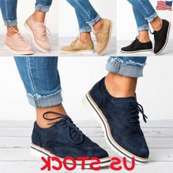 Women's Flat Oxfords Shoes Ladies Lace Up Smart Office Vinta