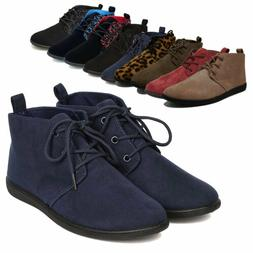 Women's Casual Lace Up Soft Oxford Flat Heel Ankle Boots Boo