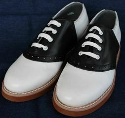 Women's Leather Black & White Saddle Oxfords  by Parker
