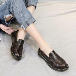 Women's Low Chunky Oxford Round Toe Spring Loafers Oxfords S