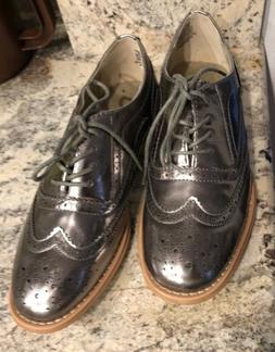 women s oxford lace up shoes silver