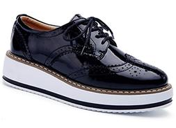 DADAWEN Women's Platform Lace-Up Wingtips Square Toe Oxfords