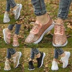 Women's Sequin Glitter Lace Up Trainers Sports Shoes Comfort