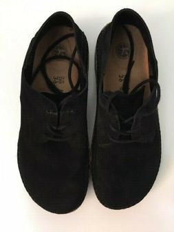 Birkenstock women's shoes black suede leather oxford