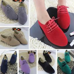 Women's Shoes Suede Laces Ballet Flats Casual Loafers Zapato