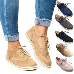Women's spring leather Oxford Platform Flats lace up Brogues