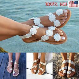 Women's Summer Bohemia Flower Beach Sandals Ladies Flats Sho