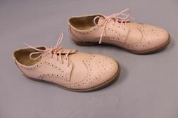Ollio Women's Wingtip Lace Up Oxford Flats AB4 Nude Pink Siz