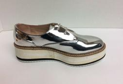 Zara Women Silver Platform Derby Shoes Blucher Oxfords EU38