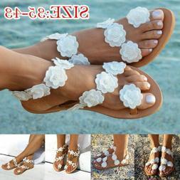 Women Summer Bohemia Flower Beach Sandals Flat Shoes Thongs