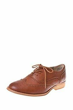 Wanted Shoes Womens Babe Almond Toe Oxfords, Cognac, Size 9.