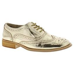womens babe gold faux leather oxfords shoes