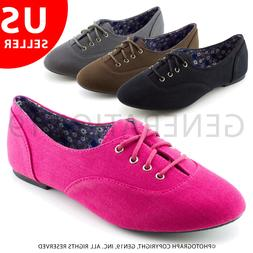 Kali Womens Casual Lace Up Canvas Oxford Shoes Notice