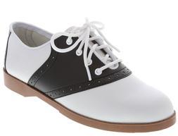 WOMENS CLASSIC 50s STYLE BLACK AND WHITE SADDLE SHOES ~  ~NE