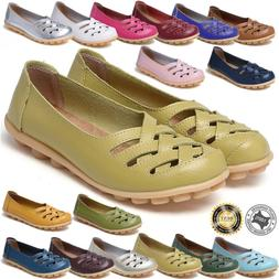 Womens Driving Loafers Moccasin Oxford Leather Casual Shoes