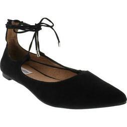 Steve Madden Womens Lecrew Black Faux Suede Flats Shoes 8 Me