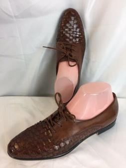 Trotters Women's LILA Brown Woven Leather,SZ8 1/2 S,Lace u