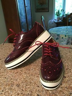 DADAWEN Womens Platform Lace-Up Cranberry Patent Wingtips Ox