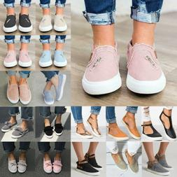 Womens Pumps Slip On Casual Flat Sneakers Trainers Loafers C