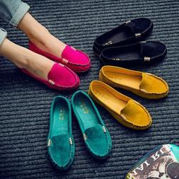 Womens Suede Flat Shoes Loafers Ladies Ballerina Ballet Slip