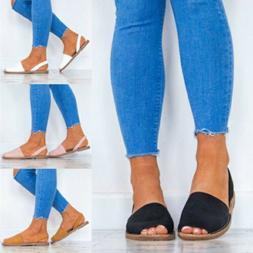 Womens Summer Beach Casual Shoes Slingbacks Flats Peep Toe S