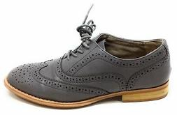 Wanted Shoes Womens Wingtip Perforated Leather Oxford Shoes